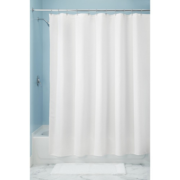 "STALL SIZE Waffle Weave Shower Curtain, 54 x 78"" - White"