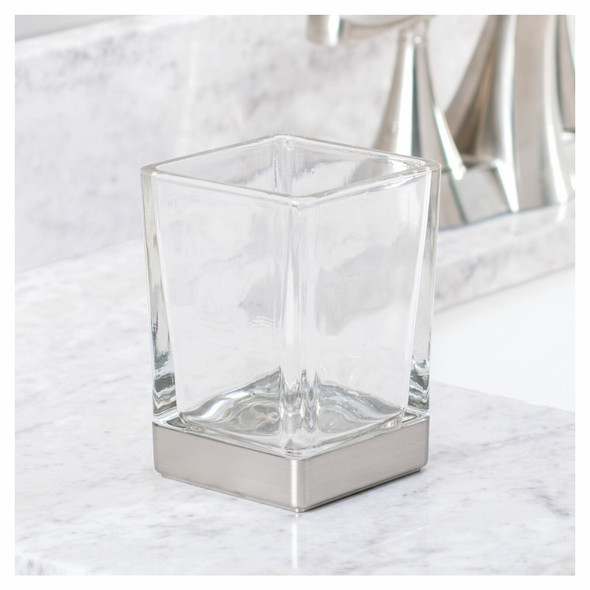 Square Glass Tumbler Cup for Bathroom Vanity