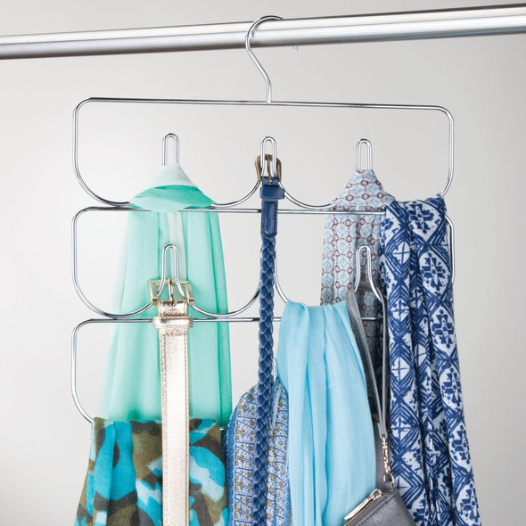 Hanging Metal Accessory and Scarf Holder - Chrome