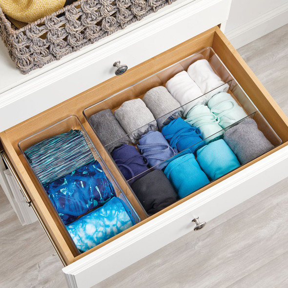 "3 Section Divided Plastic Closet Storage Bin - 14"" x 12"" x 4"""