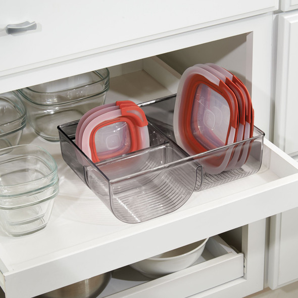 "Plastic Kitchen Food Container Lid Organizer in Smoke Gray - 11"" x 7.75"" x 3.75"""