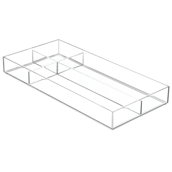 Long Plastic Home Office Drawer Organizer, 4 Sections