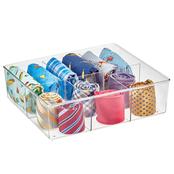 "6 Section Divided Plastic Closet Storage Bin - 14"" x 12"" x 4"""
