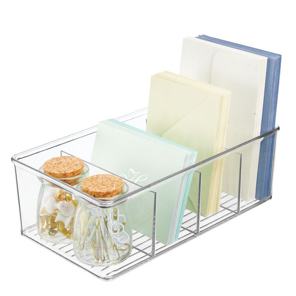 "Plastic Office Storage Organizer Bin - 6"" x 10.5"" x 3.5"""