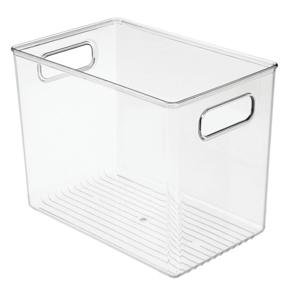 "Plastic Bathroom Storage Bin with Handles - 10"" x 6.5"" x 8"""