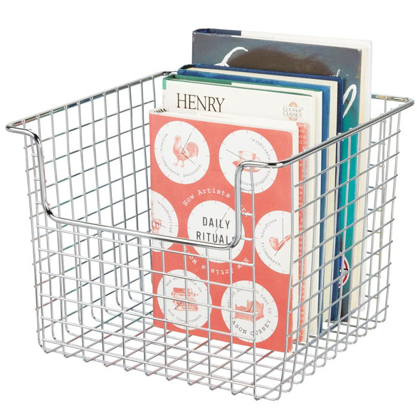 "Metal Wire Home Storage Bin in Chrome - 10"" x 10"" x 7.75"""
