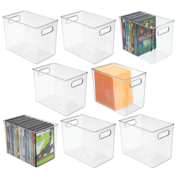 Clear Plastic Storage Bin with Handles - Pack of 8