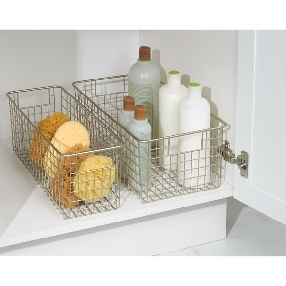 Metal Wire Bathroom Vanity Storage Baskets - Pack of 2