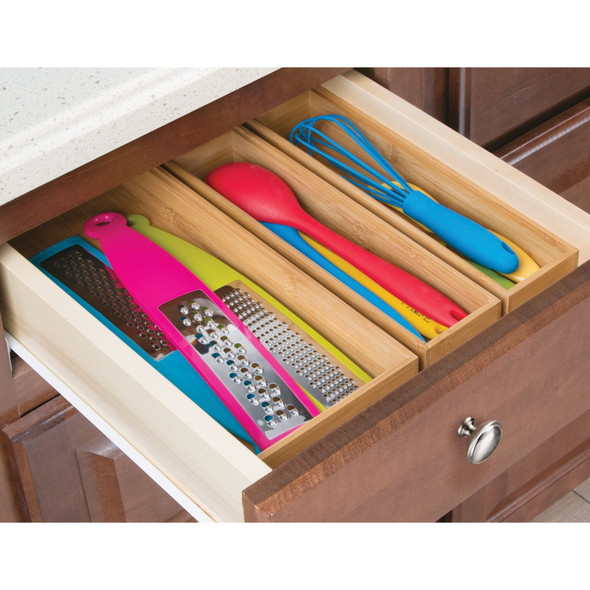 "Bamboo Kitchen Drawer Storage Organizer Tray, 12"" x 3"" x 2"""