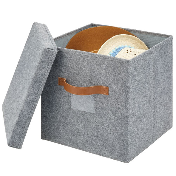 Felt Cube with Lid, Pack of 2 - Gray/Tan