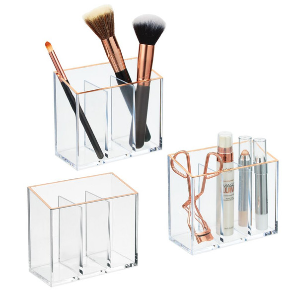 "3 Section Makeup Brush Holder Vanity Desk Organizer - 5"" x 2.4"" x 4"""