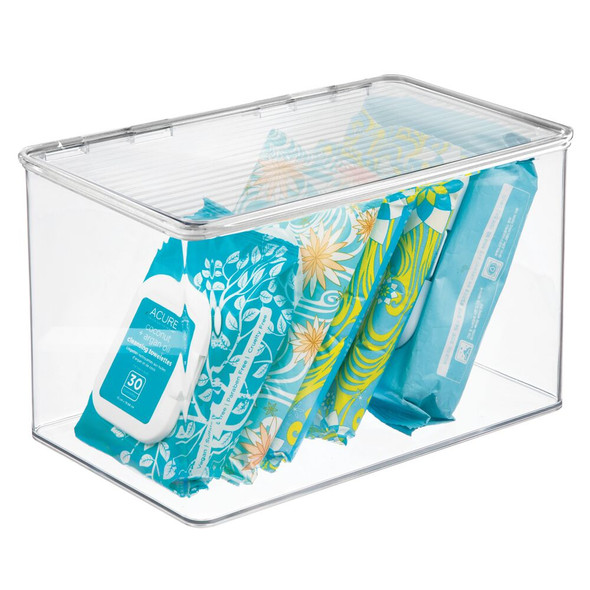 "Plastic Bathroom Storage Bin with Lid - 7.25"" x 10.75"" x 6.5"""