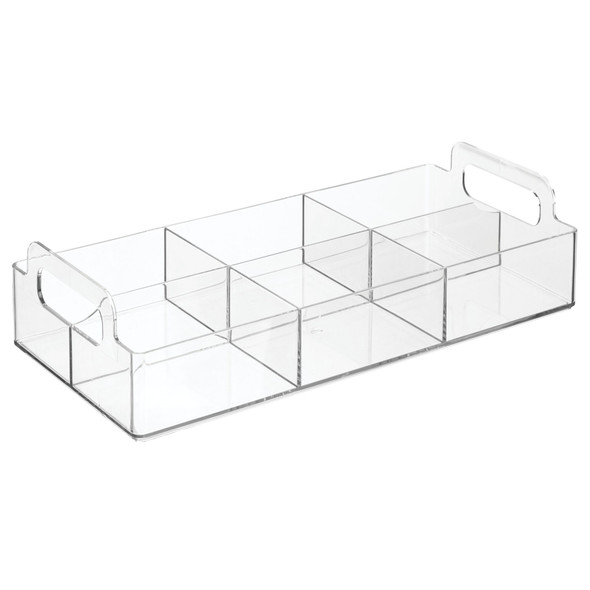 """6 Section Divided Plastic Makeup Cosmetic Storage Organizer - 12"""" x 5.7"""" x 2.9"""""""
