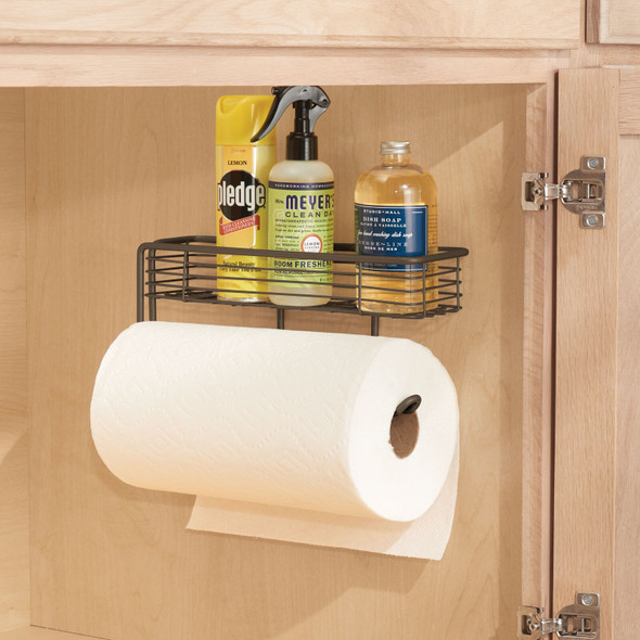 Metal Wall Mount Paper Towel Holder with Storage Basket