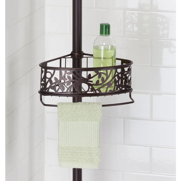 Adjustable 4 Tier Tension Pole Shower Caddy Corner - Decorative Vine Design