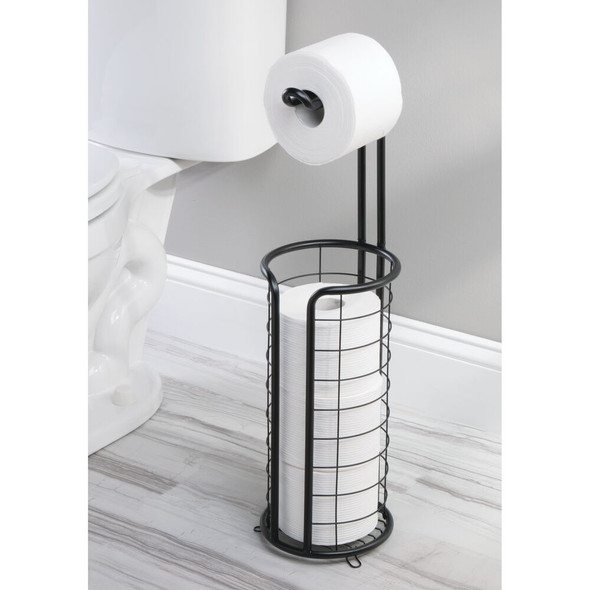 Round Metal Toilet Tissue Paper Roll Holder & Dispenser
