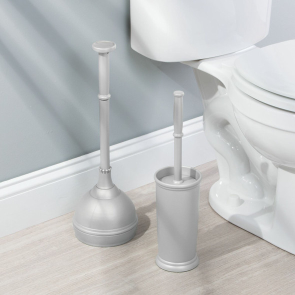 Compact Plastic Toilet Bowl Brush & Plunger Combo - Set of 2