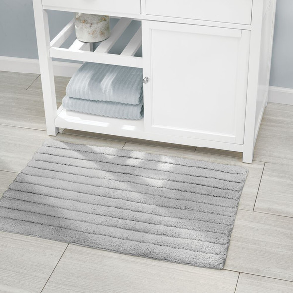 Cotton Rectangular Bathroom Mat Combo with Ribbed Design - Set of 3