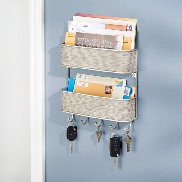 Wall Mount 2 Tier Metal/Leather Mail Organizer Basket