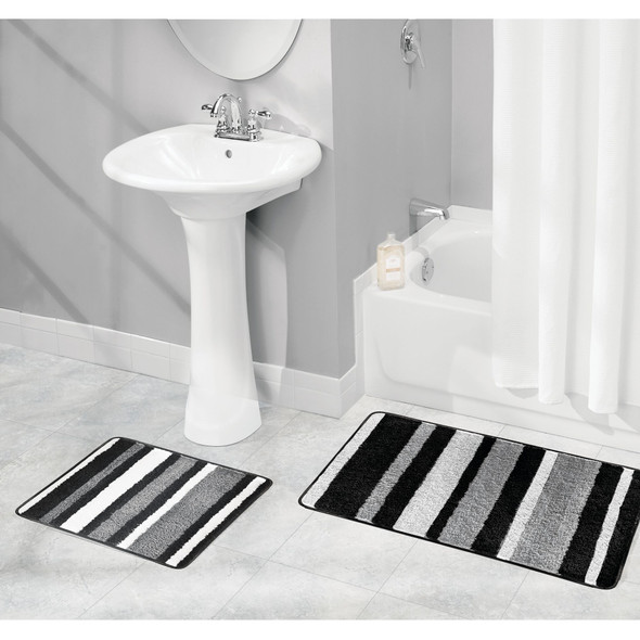 Microfiber Spa Bath Mat, Non-Slip Bathroom Rug Combo, Striped Print
