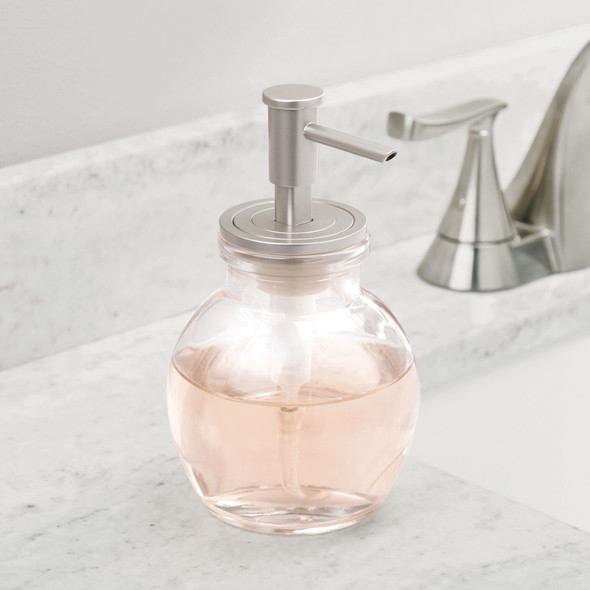 Decorative Round Glass Refillable Liquid Soap Dispenser Pump - Pack of 2