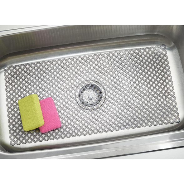 "Extra Large Plastic Kitchen Sink Protector Mat with Diamond Pattern - 12"" x 25"""
