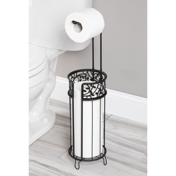Metal Toilet Tissue Paper Roll Holder & Dispenser, Decorative Wire Design