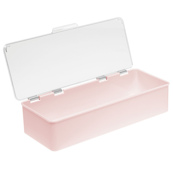 "Stackable Plastic Household Storage Bin with Lid - 5.5"" x 13.3"" x 3"""