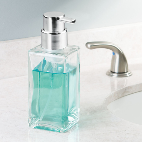 Square Glass Refillable Foaming Soap Dispenser Pumps  - Pack of 2