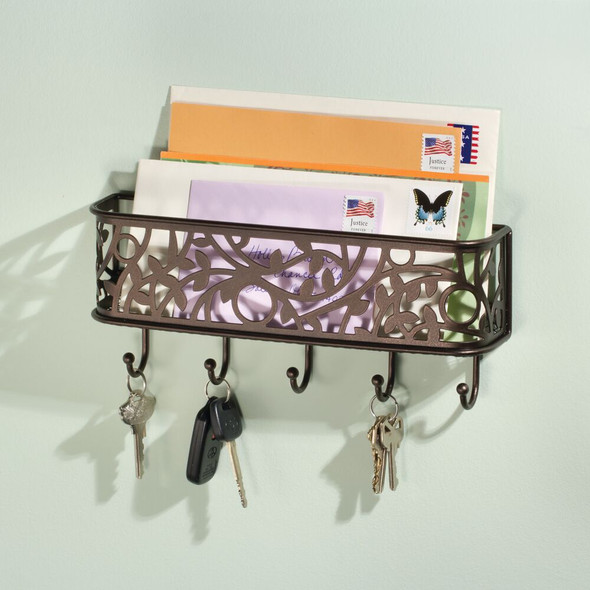 Metal Wall Mount Entryway Storage Basket Mail Sorter, Decorative Vine Design
