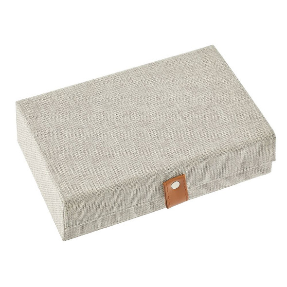 6 Compartment Fabric Jewelry Storage Box with Lid