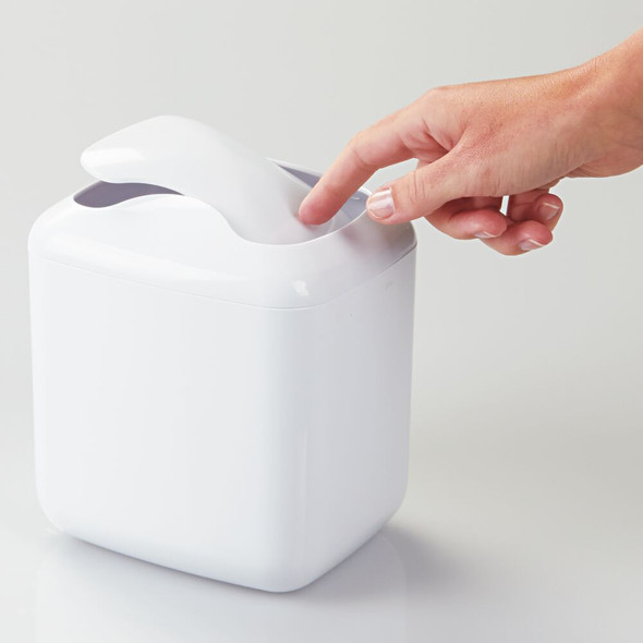 Mini Square Bathroom Vanity Trash Can Waste Bin, Decorative Swing Lid