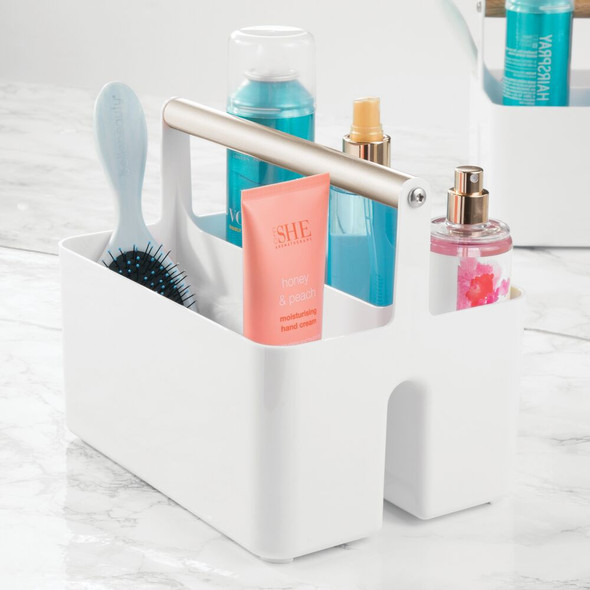 Plastic Bathroom Storage Organizer Caddy Tote - Metal Handle