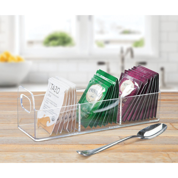 Tea Bag Holder and Condiment Accessory Organizer Caddy with Handles