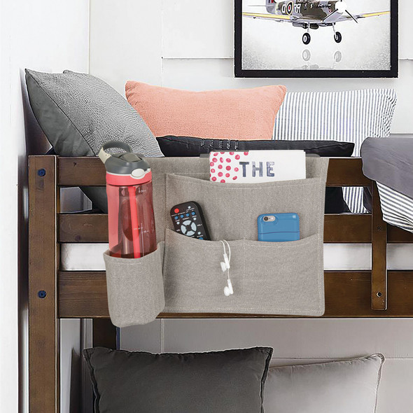 Fabric Bedside Caddy Organizer with 4 Pockets