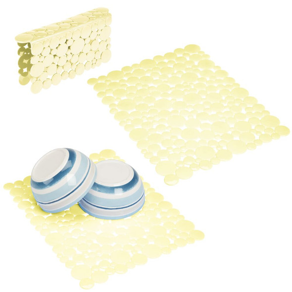 Adjustable Kitchen Sink Protector Mats and Saddle in Pebble Design