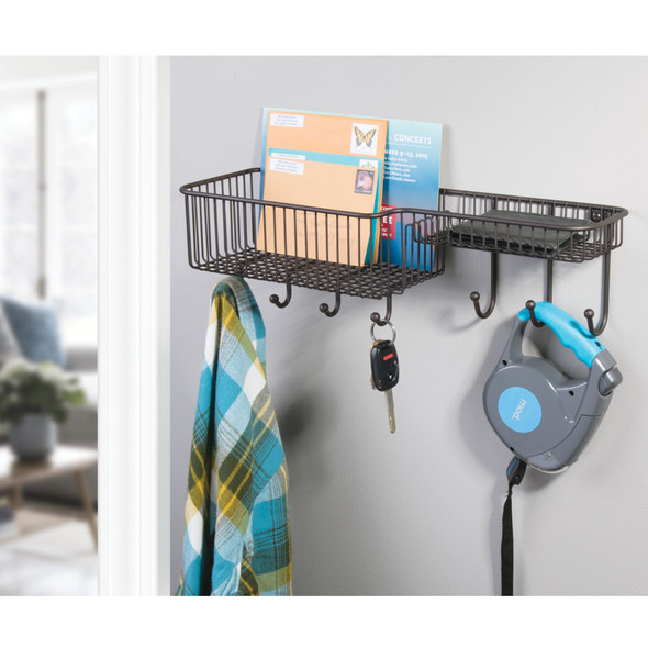 Metal Wall Mount Entryway Storage Basket Mail Sorter