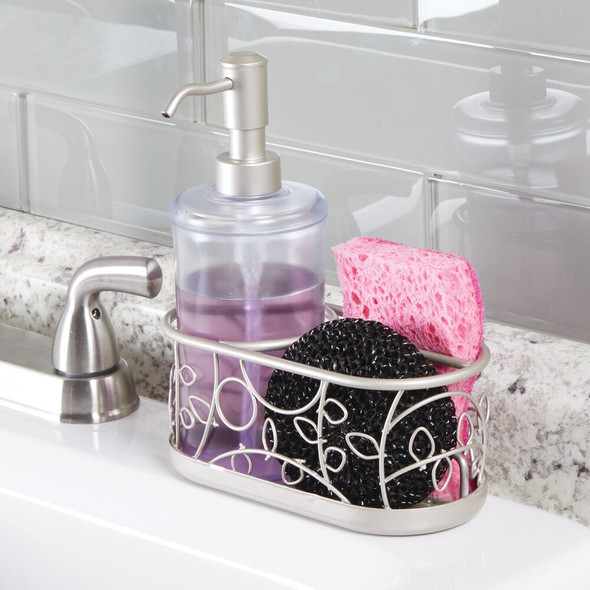 Ceramic Kitchen Counter Soap Pump with Metal Sponge Caddy - Decorative Vine Design