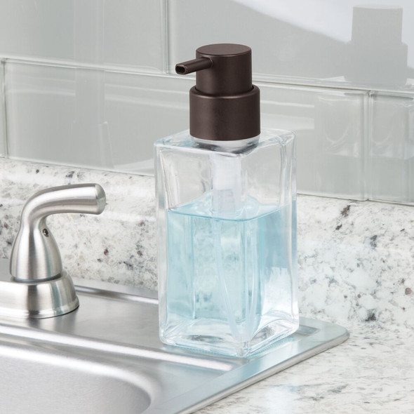 Square Glass Refillable Liquid Soap Dispenser Pump - Pack of 2