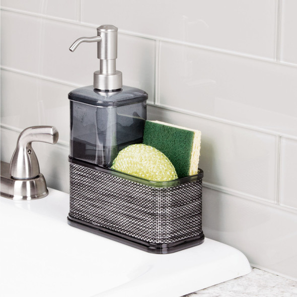 Plastic Kitchen Counter Soap Pump with Sponge Caddy, Decorative Woven Accents