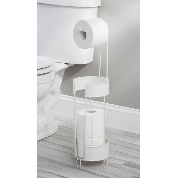 Metal Toilet Tissue Paper Roll Holder & Dispenser with Woven Accent
