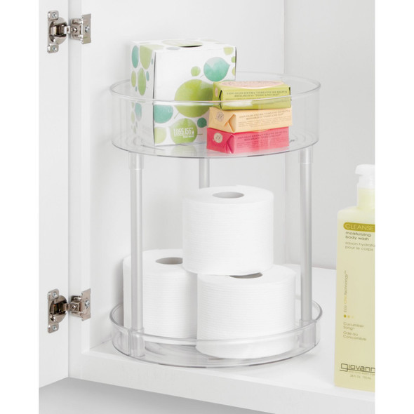 2 Tier Lazy Susan Turntable for Bathroom Storage