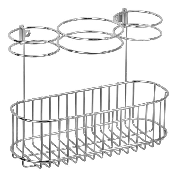 Wall Mount Hair Care Tool Rack Holder for Hair Dryer - 3 Sections