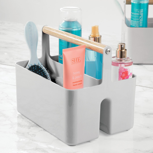 Plastic + Wood Bathroom Storage Organizer Caddy Tote