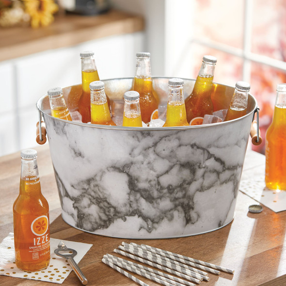 Metal Beverage Tub + Ice Holder with Handles