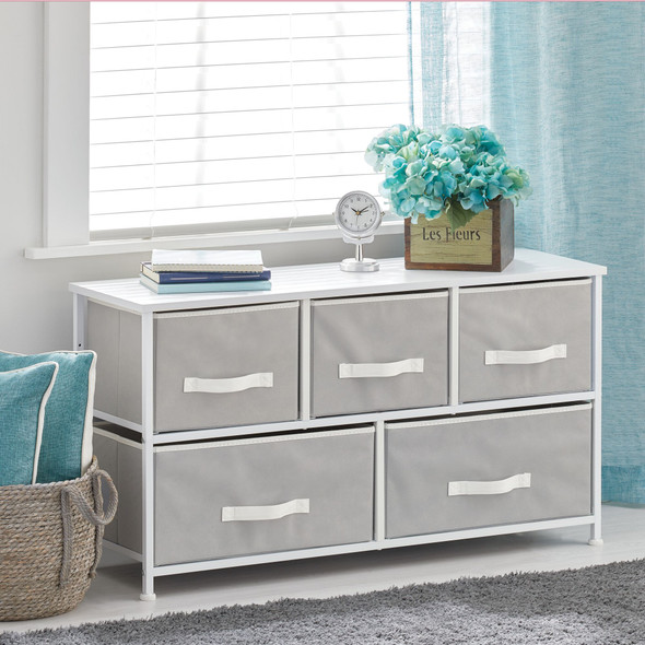 5 Drawer Wide Dresser with White Accents