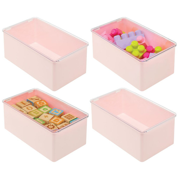 Plastic Stackable Toy Storage Bin Box with Lid - Pack of 4