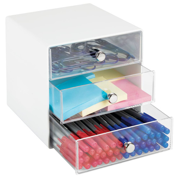 Plastic Home Office Storage Organizer Cube, 3 Drawer