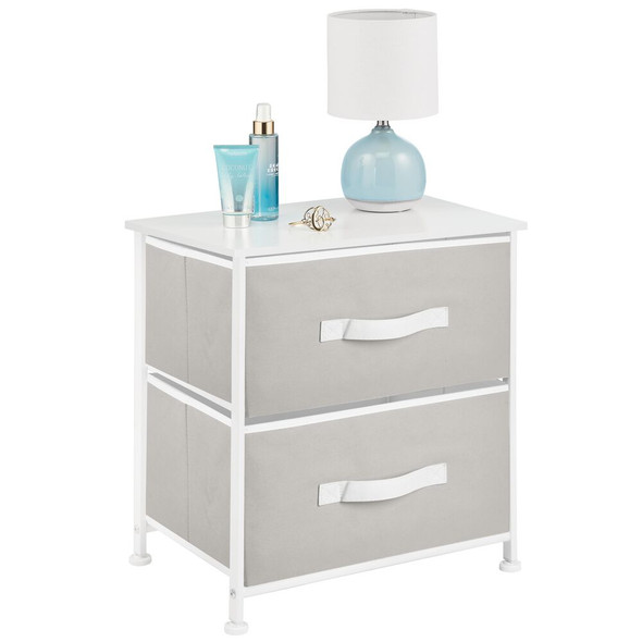 2 Drawer Side Table with White Accents
