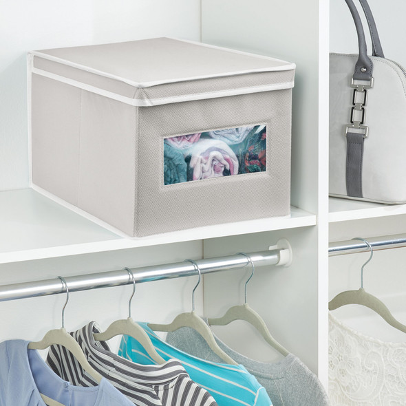 """Fabric Storage Box with Clear Front Panel for Closet - 15.5"""" x 11.75"""" x 9.75"""""""